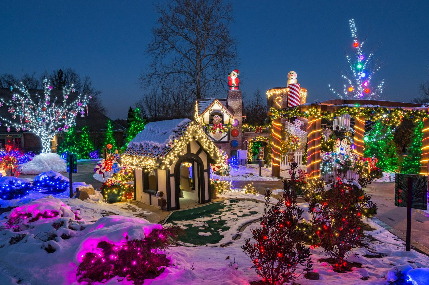 snowy Stan Hywet Hall Gardens decorated with christmas lights
