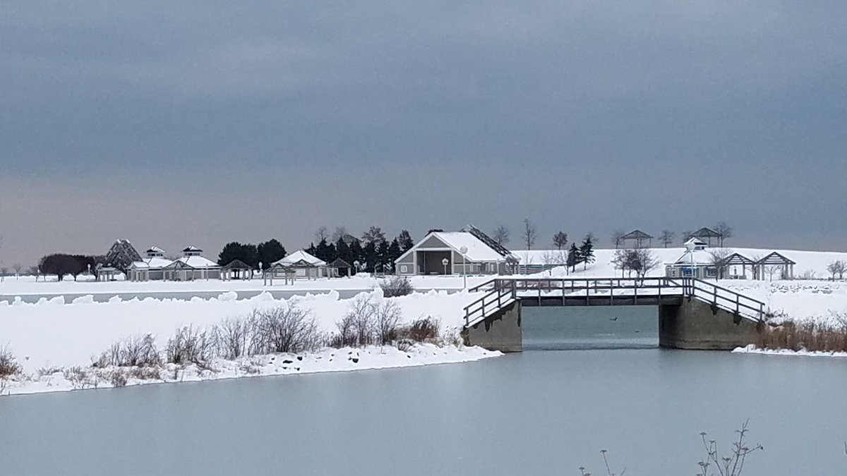snowy town and bridge