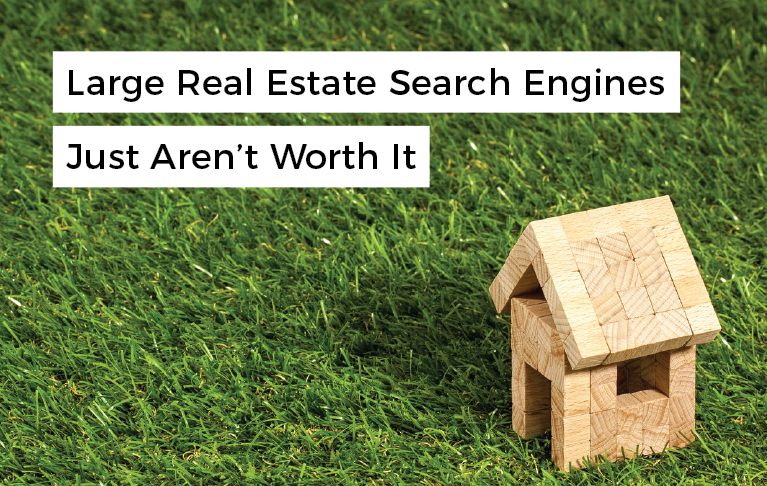 """miniature house made out of wooden blocks with overlaying text that reads """"large real estate search engines just aren't worth it"""""""