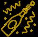 champagne bottle & confetti icon