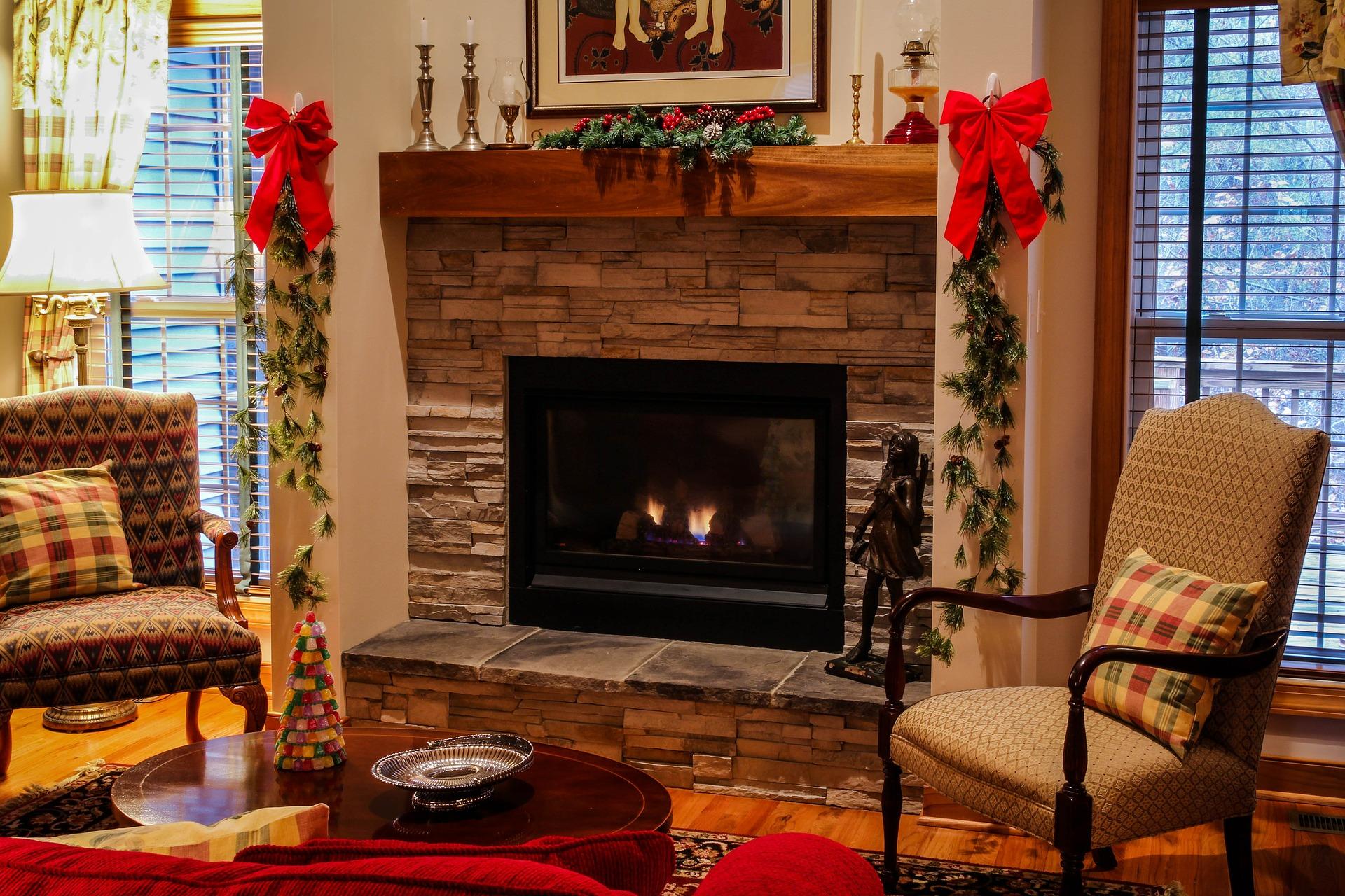 cozy seating area around lit fireplace