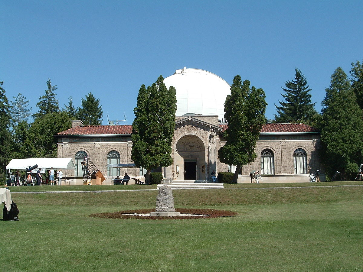 large trees in front of Perkins Observatory