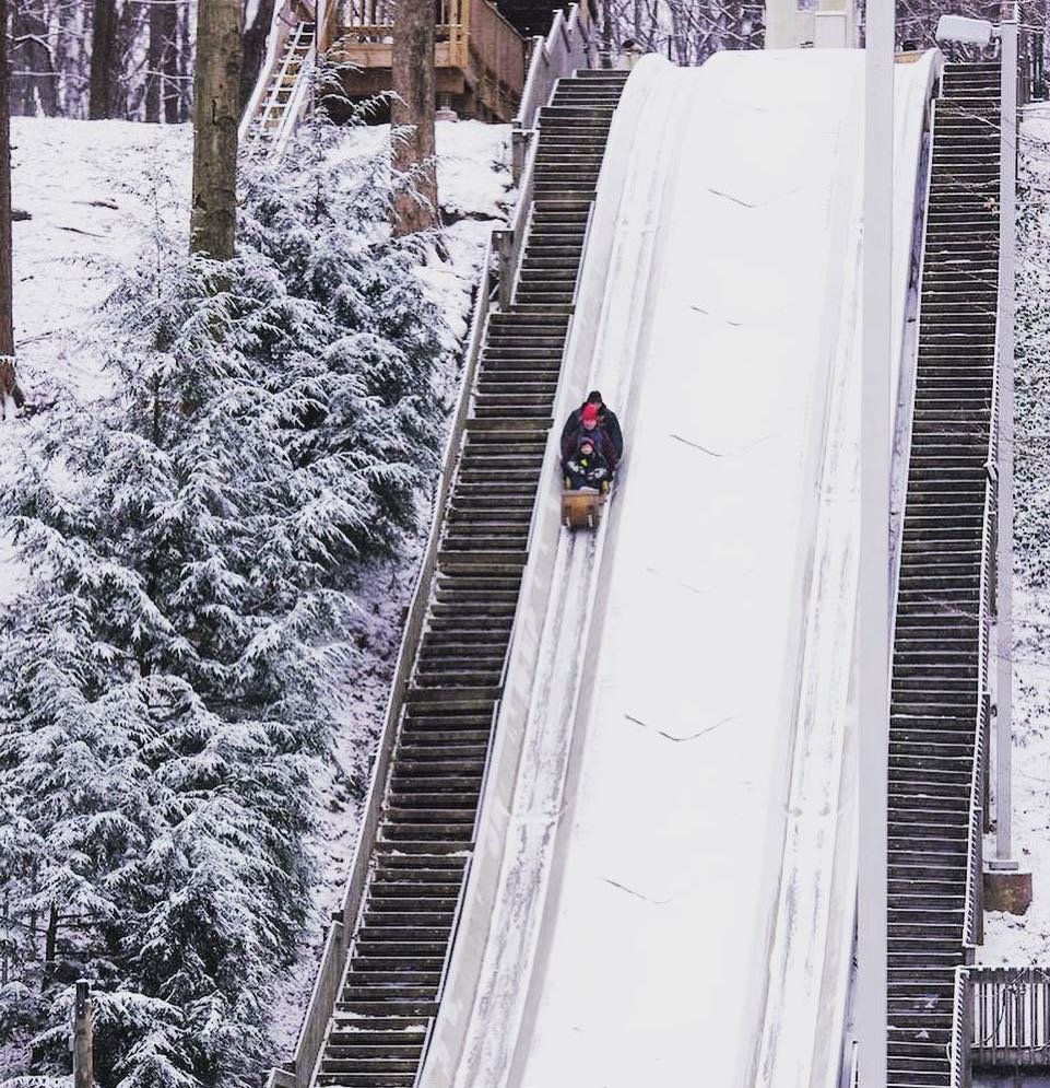 people riding down Strongsville Toboggan Chutes in the snow