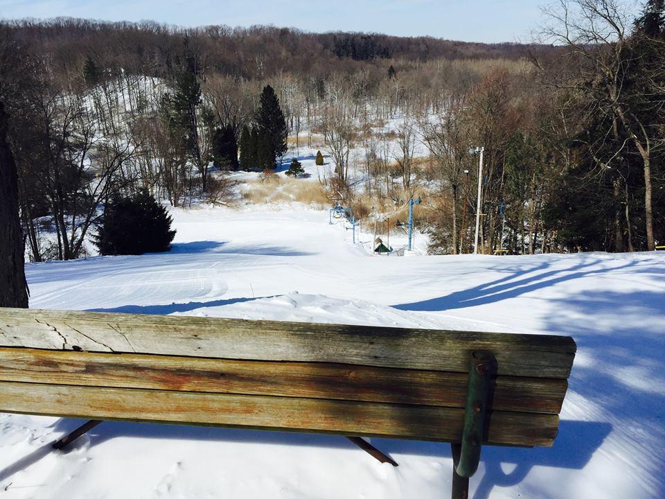 Cleveland's SKi Club Big Creek Ski Area bench at top of slope