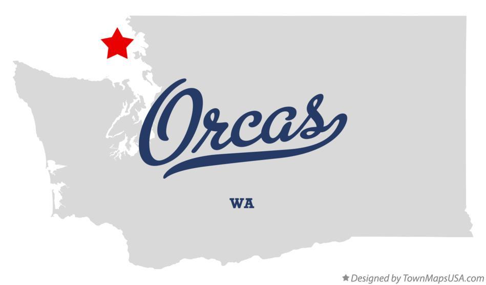 Orcas Washington map graphic