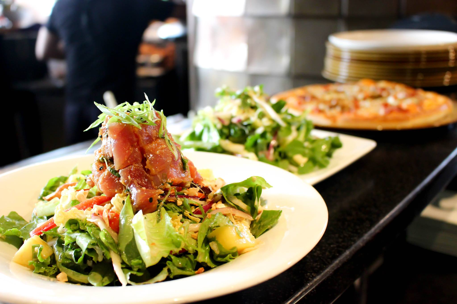 Tuna tartare salad and a pizza