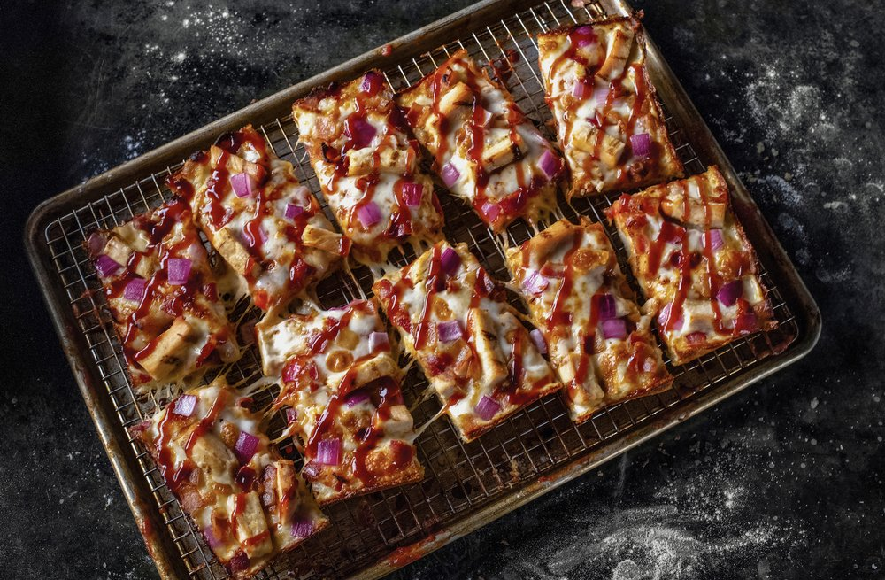 rectangular pizza slices with bbq sauce