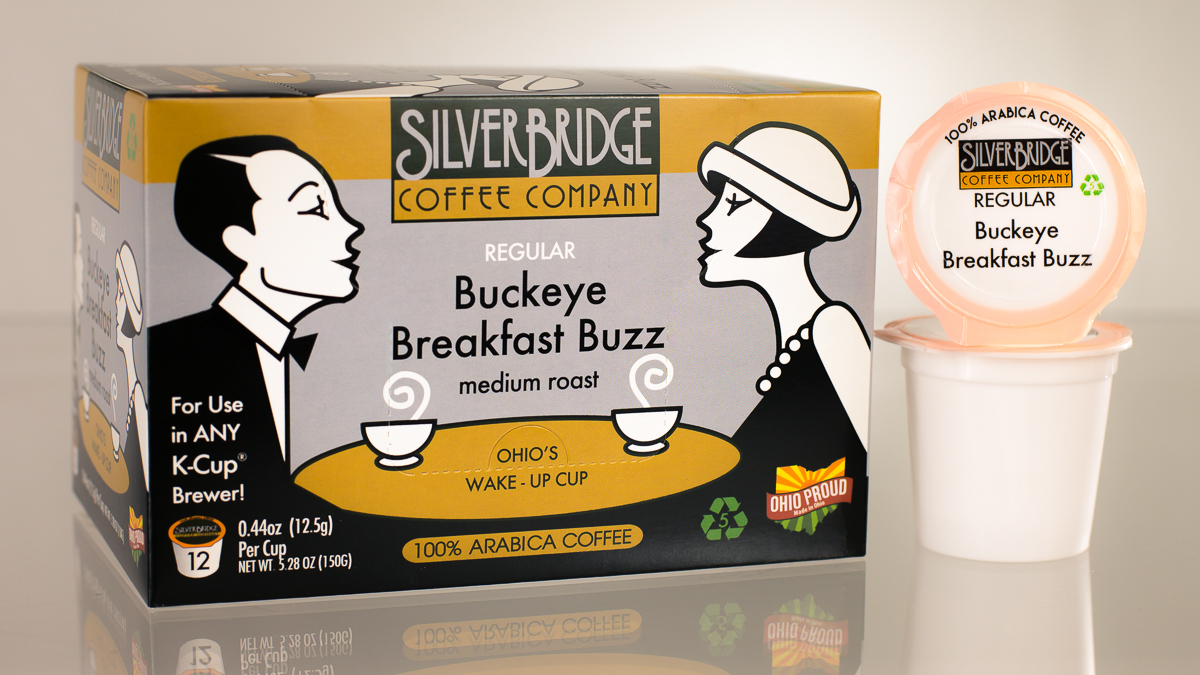 A box of Kcups from Silver Bridge Coffee Company in the flavor Buckeye Breakfast Buzz