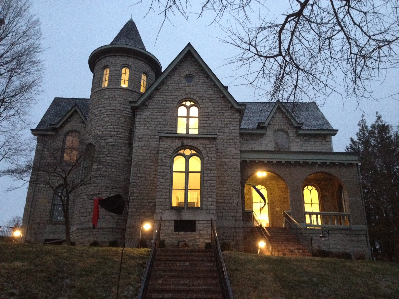The castle-like building that houses the Delaware County Cultural Arts Center