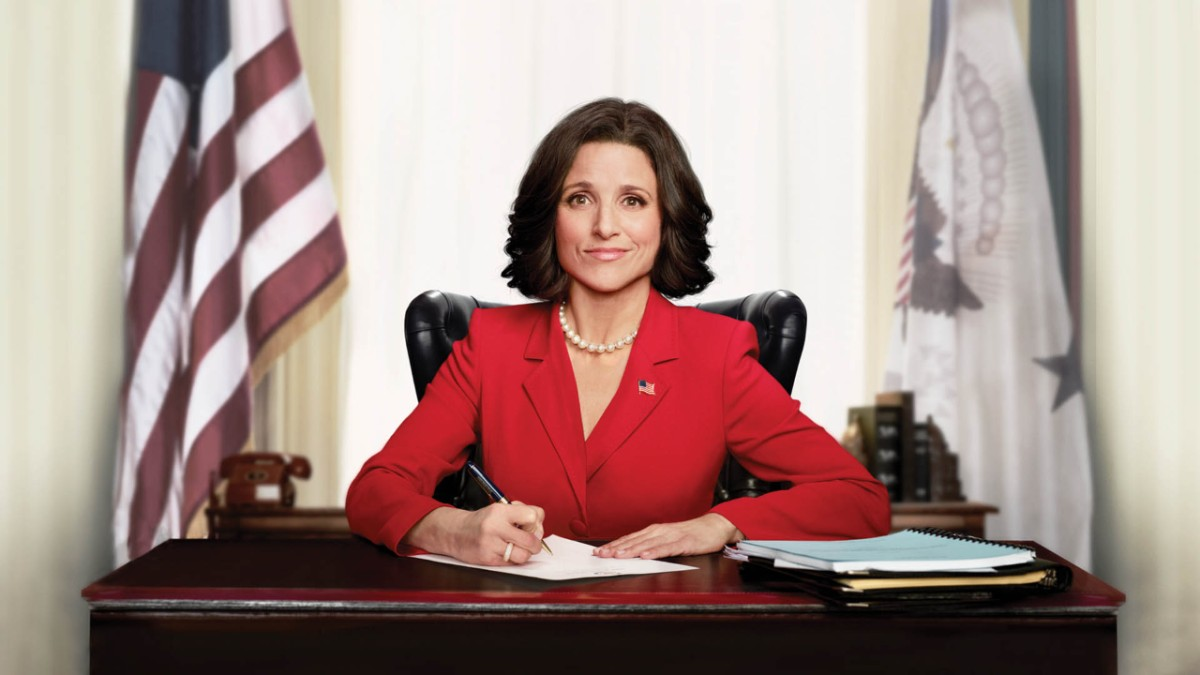 Selena Meyer sits at her desk in the vice presidential office