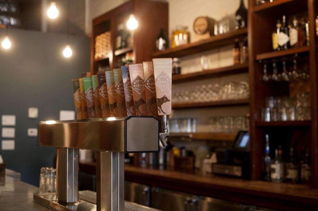 Wolf's Ridge taproom bar with branded wooden tap handles