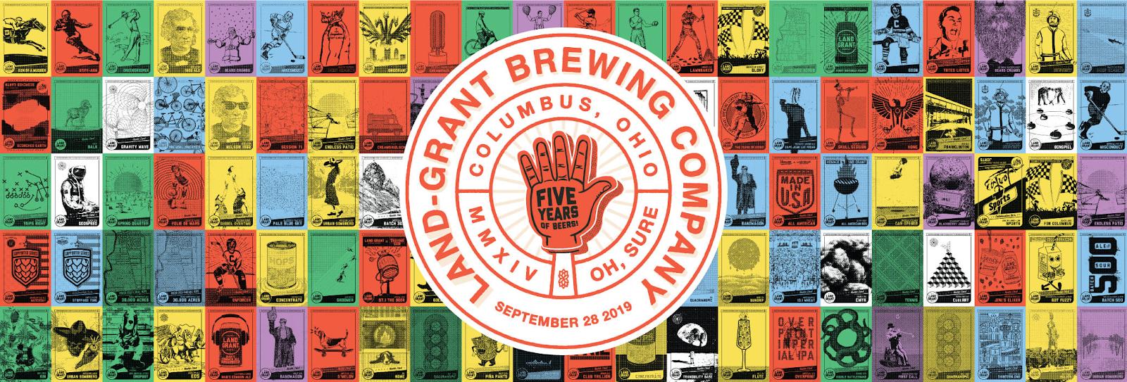 Land-Grant Brewing Company five-year anniversary logo