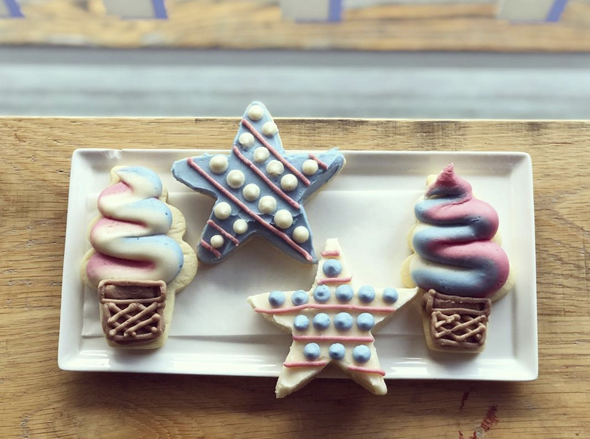 star and ice cream shaped sugar cookies