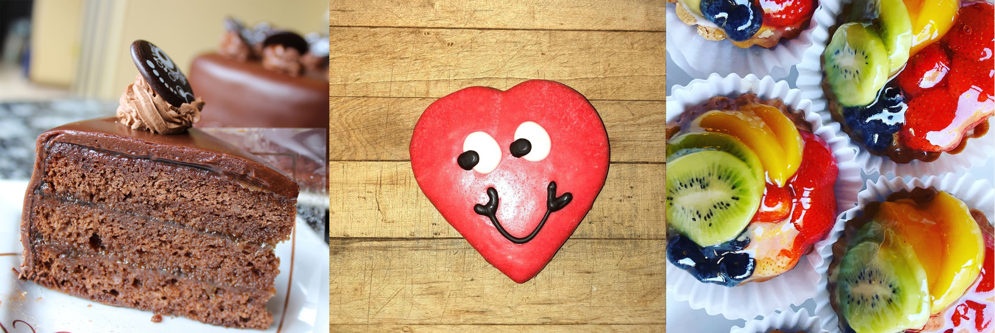 Chocolate cake, heart shaped sugar cookie, fruit tarts