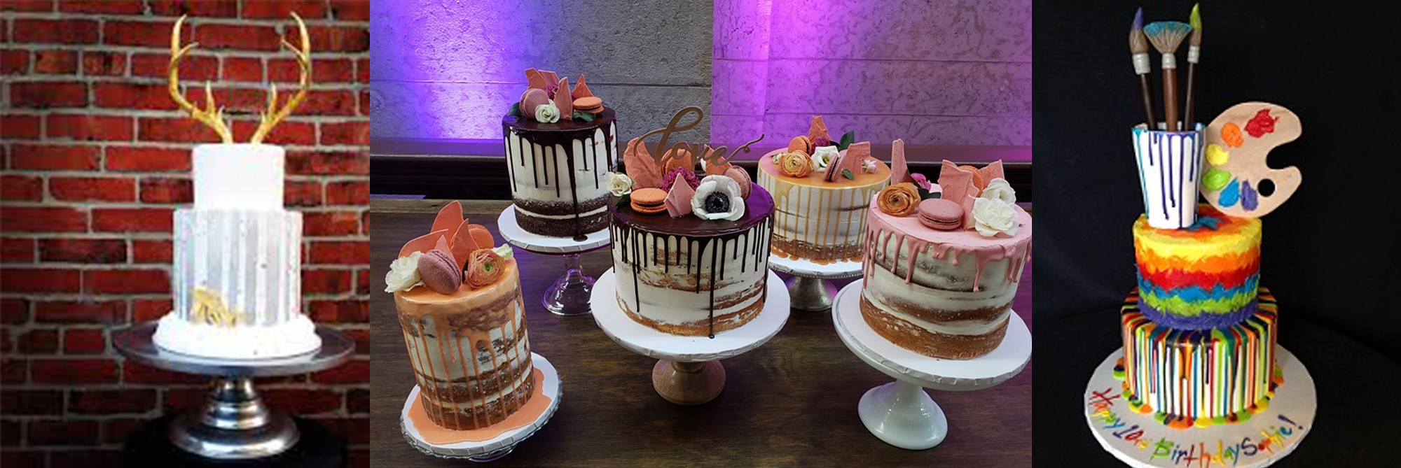 Cak with antlers sticking out, cakes for parties, artist cake with easel and palate