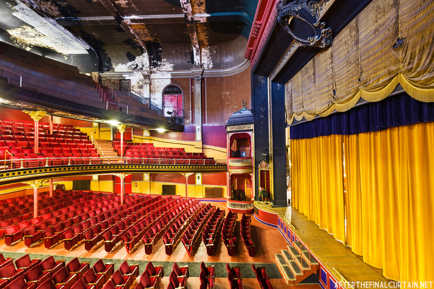 The sorge opera house has large beautiful golden curtains to highlight the classic look of the theatre