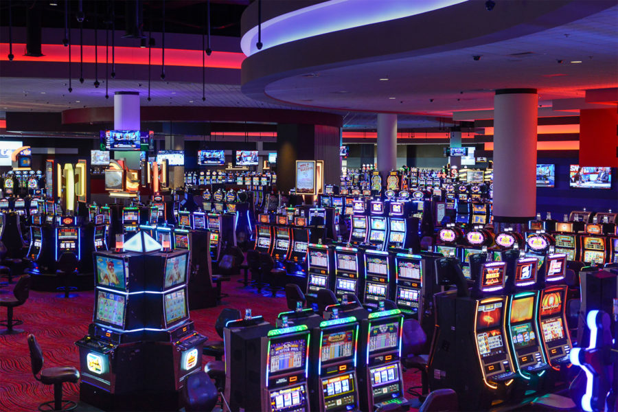 An open slot machine room for gambling