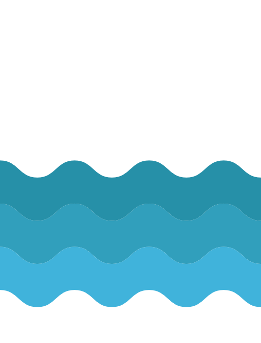 Water icon of three waves in blue
