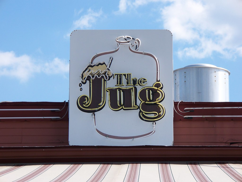The Jug's famous sign sits on top of this 1950's style burger joint