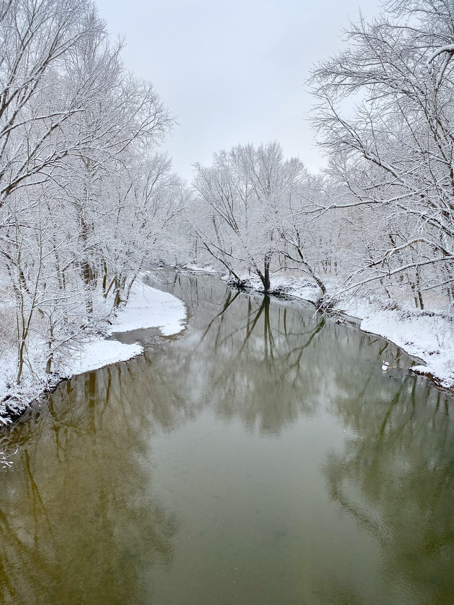 A snow covered river ground during a winter in Springfield.