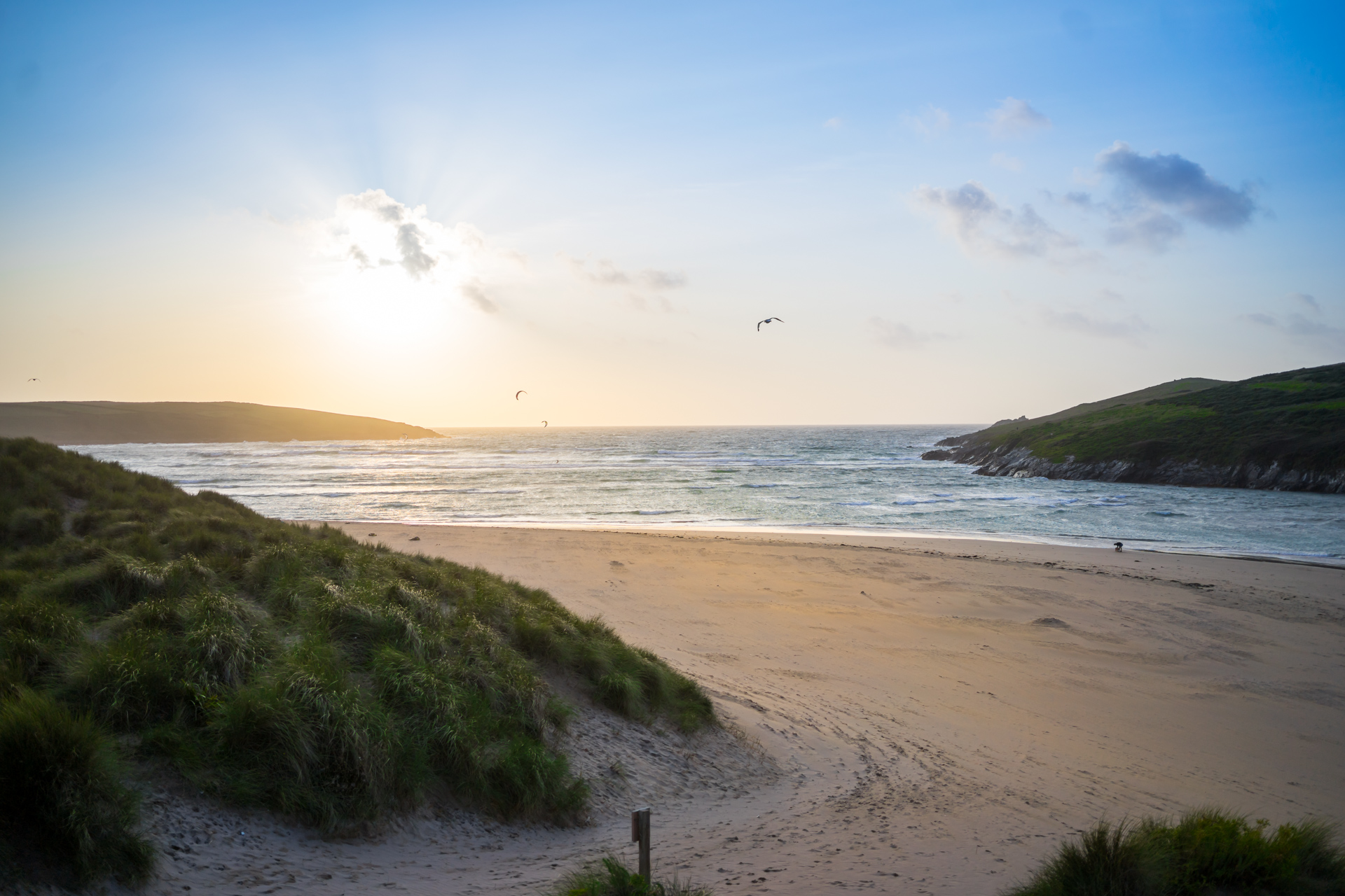 Crantock Beach near holiday cottages in Cornwall