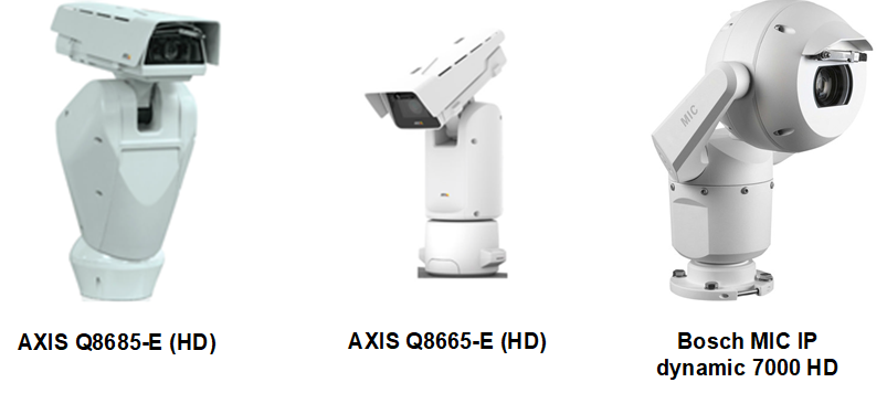 ‍Supported PTZ cameras include models from Axis and Bosch.