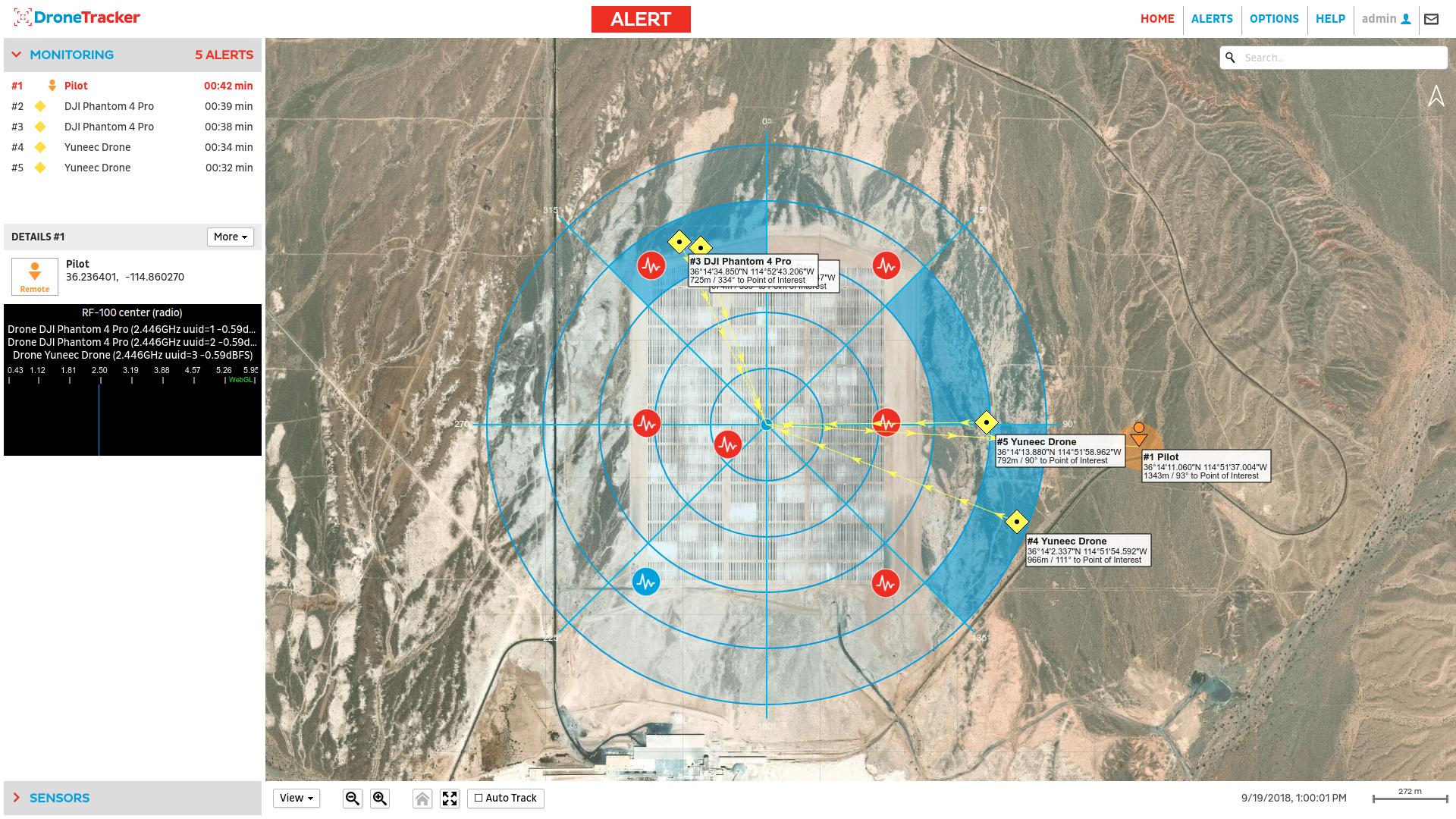 DroneTracker 3,5 detektiert und lokalisiert mehrere Drohnen gleichzeitig