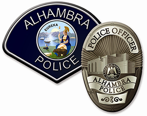 Image of Alhambra Police Department patch and badge