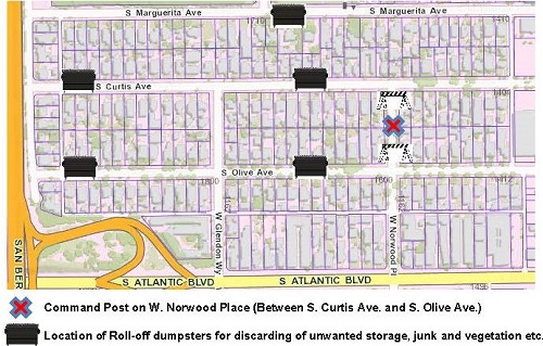 Map of Neighborhood Clean Up Event including command post and roll off dumpster locations