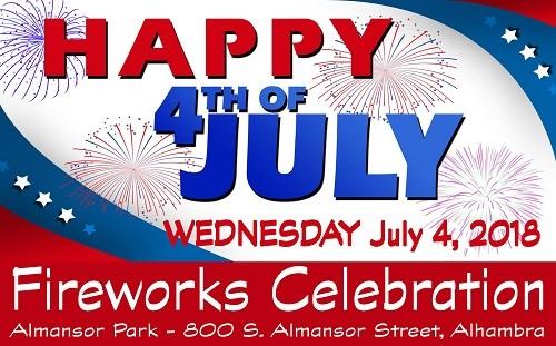 Happy 4th of July Fireworks Celebration, Almansor Park, 800 South Almansor Street, Alhambra