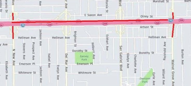 Map of I-10 Freeway Closures at New Avenue and Walnut Grove Avenue