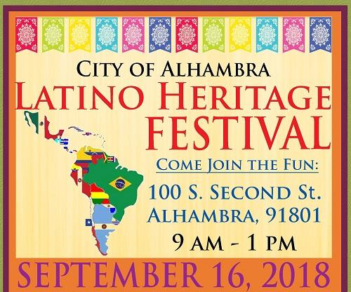 Latino Heritage Festival flyer September 16, 2018 banner image