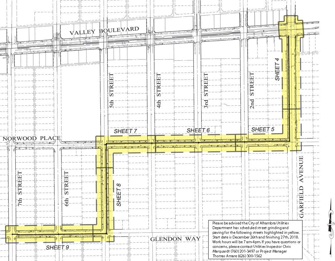 Map of Glendon Way, 5th Street, Norwood Place, and Garfield Avenue paving project area
