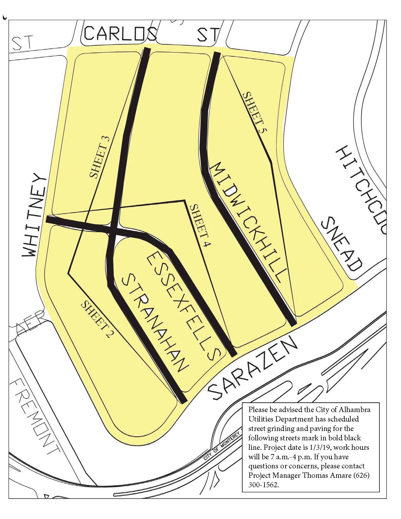 Midwick Hill Waterline paving area map