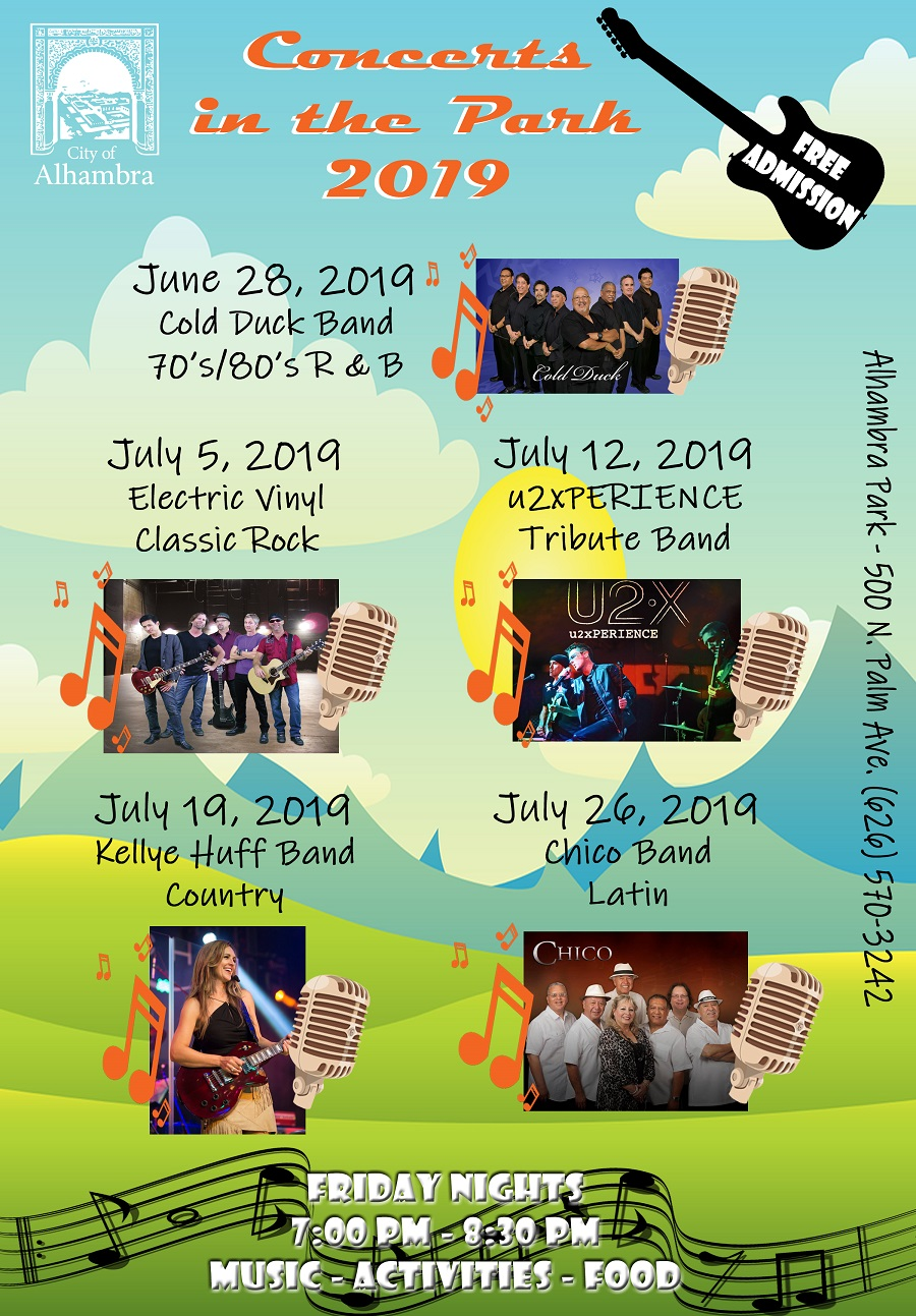 Concerts in the Park 2019 informational flyer