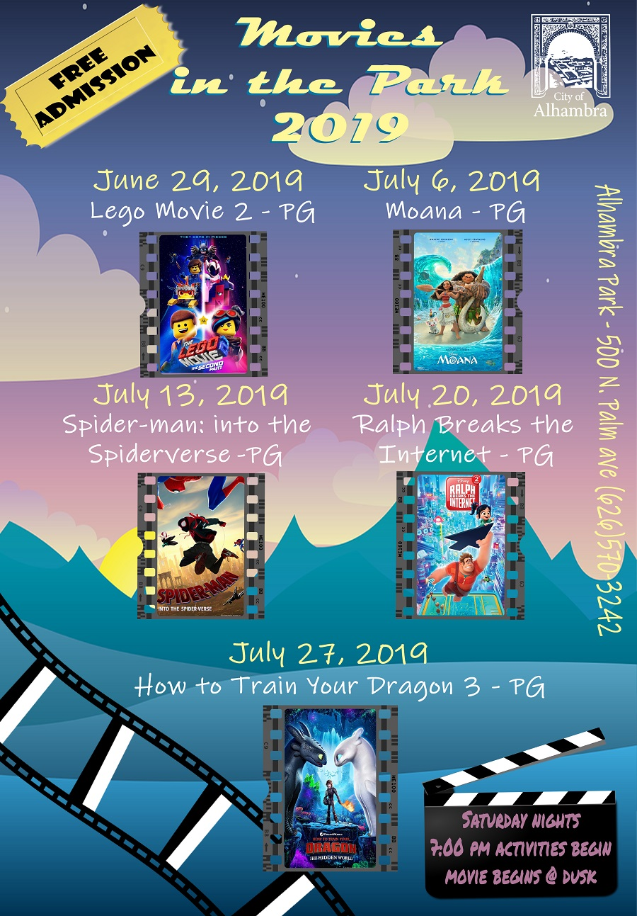 2019 Movies in the Park informational flyer