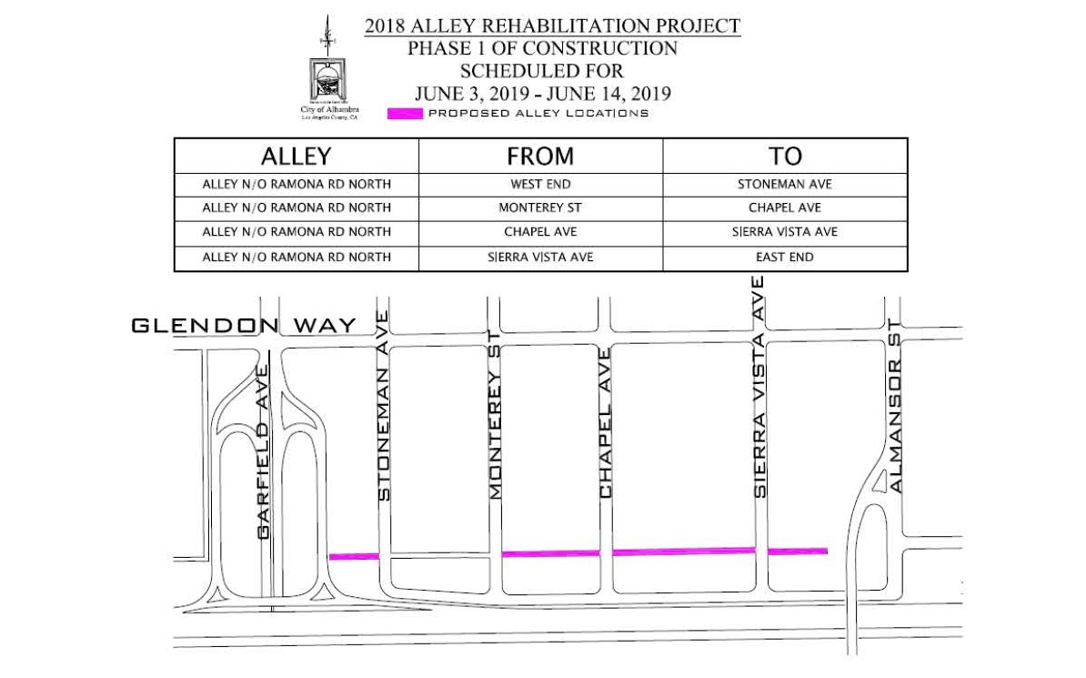 Map of alley rehabilitation project phase 1