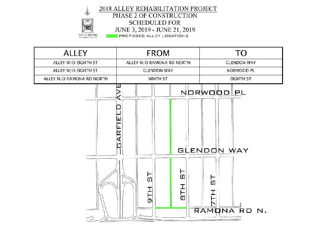 Map of Phase 2 Alleyway rehabiliation project