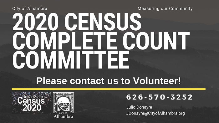 2020 Census Complete Count Committee banner contact Julio Donayre at 626-570-3252 to volunteer
