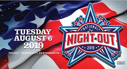 2019 National Night Out banner, Tuesday, August 6, 2019