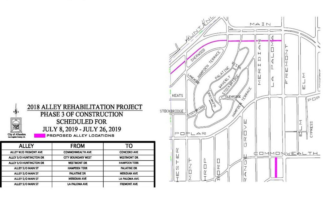 Map of Phase 3 Alleyway Rehab Project