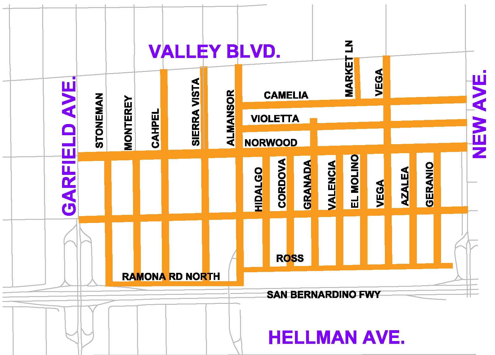 Map of SB 1 Street Rehab Project Area