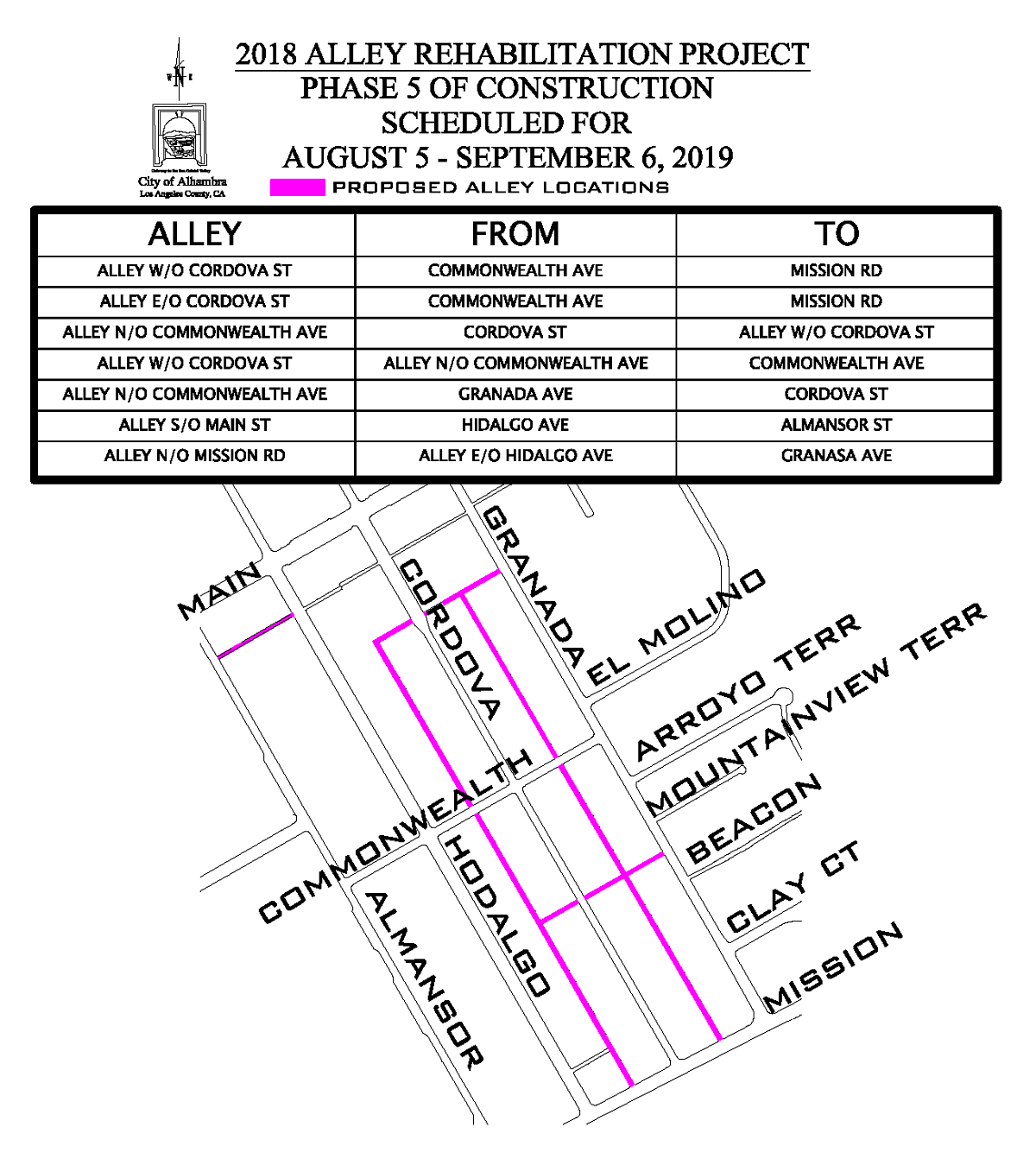 Map of Phase 5 Project Area