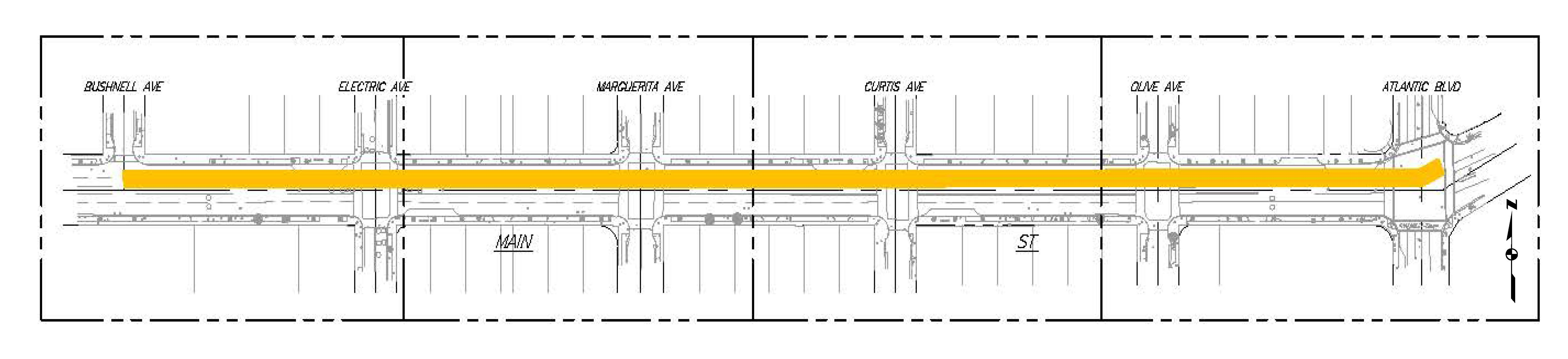 Map of Main Street Sewer Replacement Project Area
