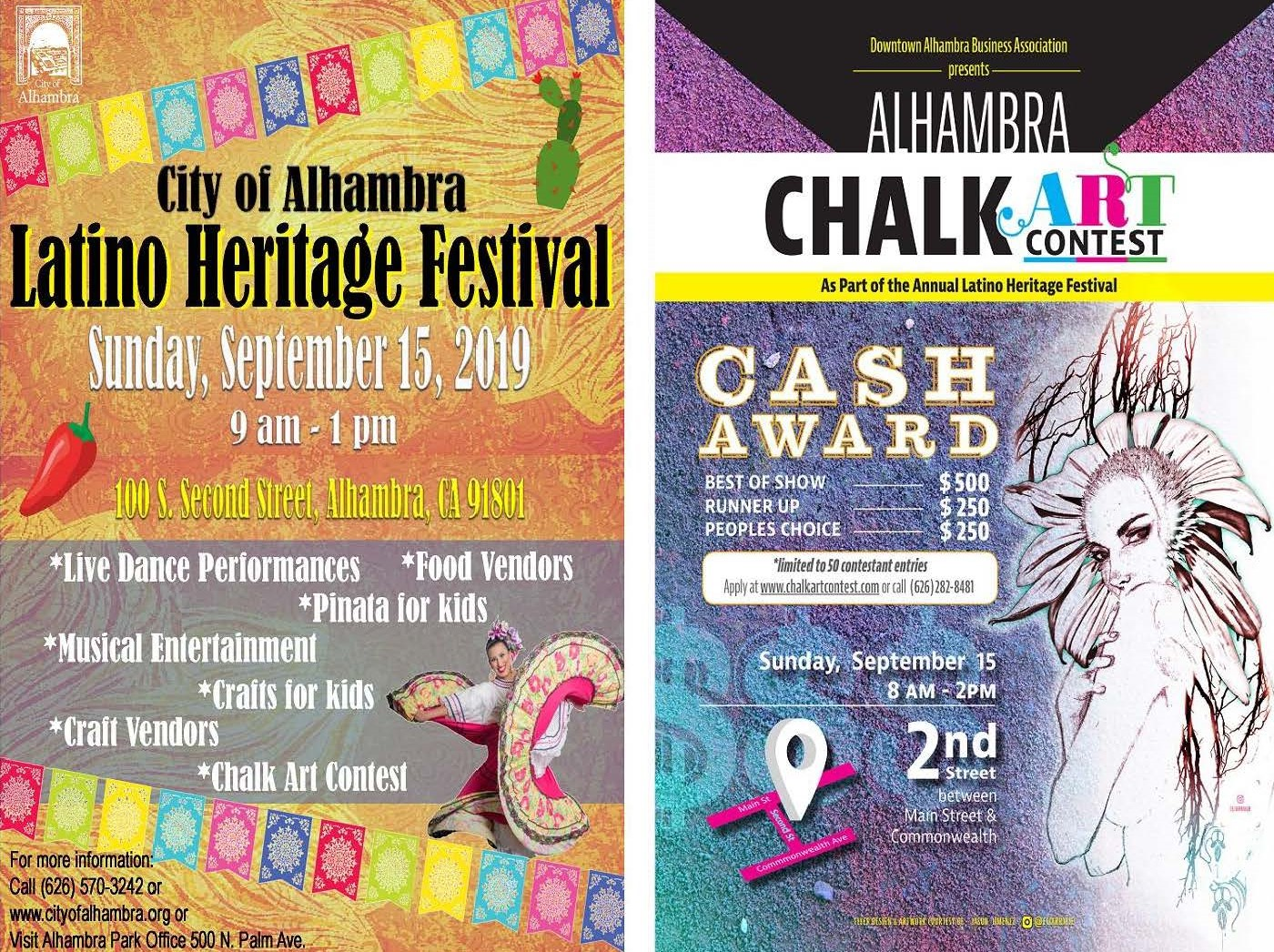 2019 Latino Heritage Festival Flyer and Chalk Art Contest Flyer