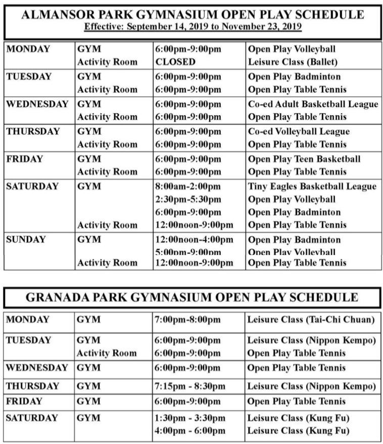 Almansor and Granada Park Gym Schedules September 14 to November 23, 2019