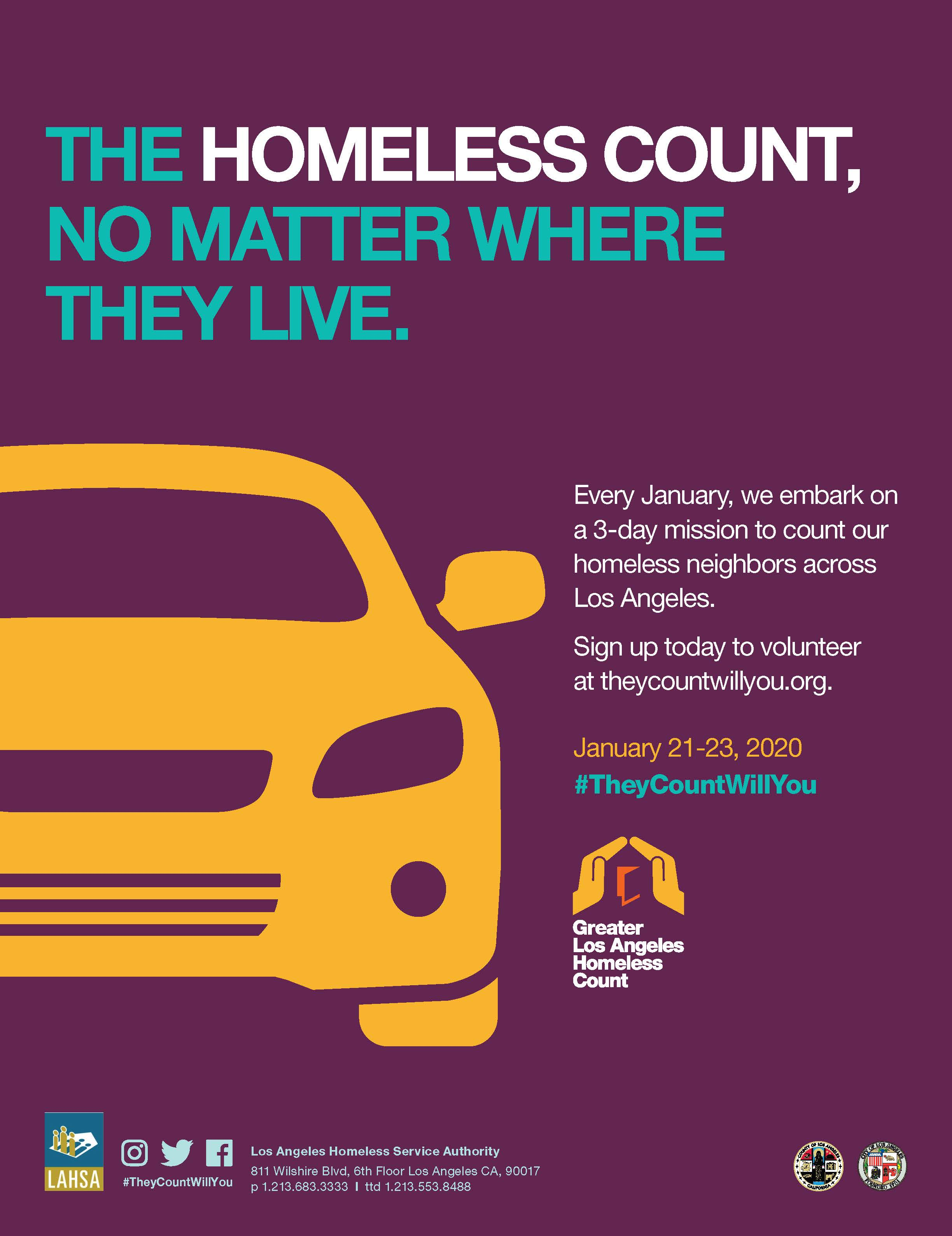 "poster says ""the homeless count, no matter where they live."" Poster shows a yellow car."