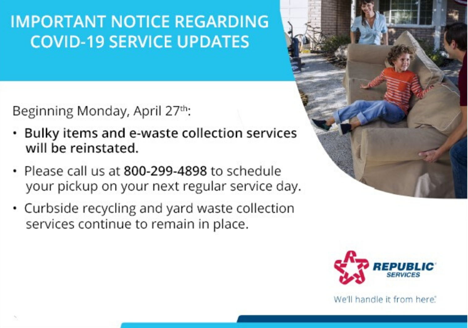 Notice Regarding Bulky Item and Ewaste Services Update