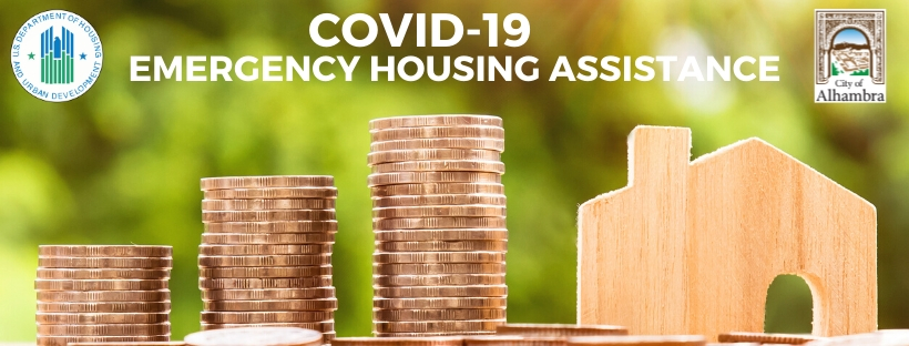 photo of a house and coins, text says covid19 emergency housing assistance