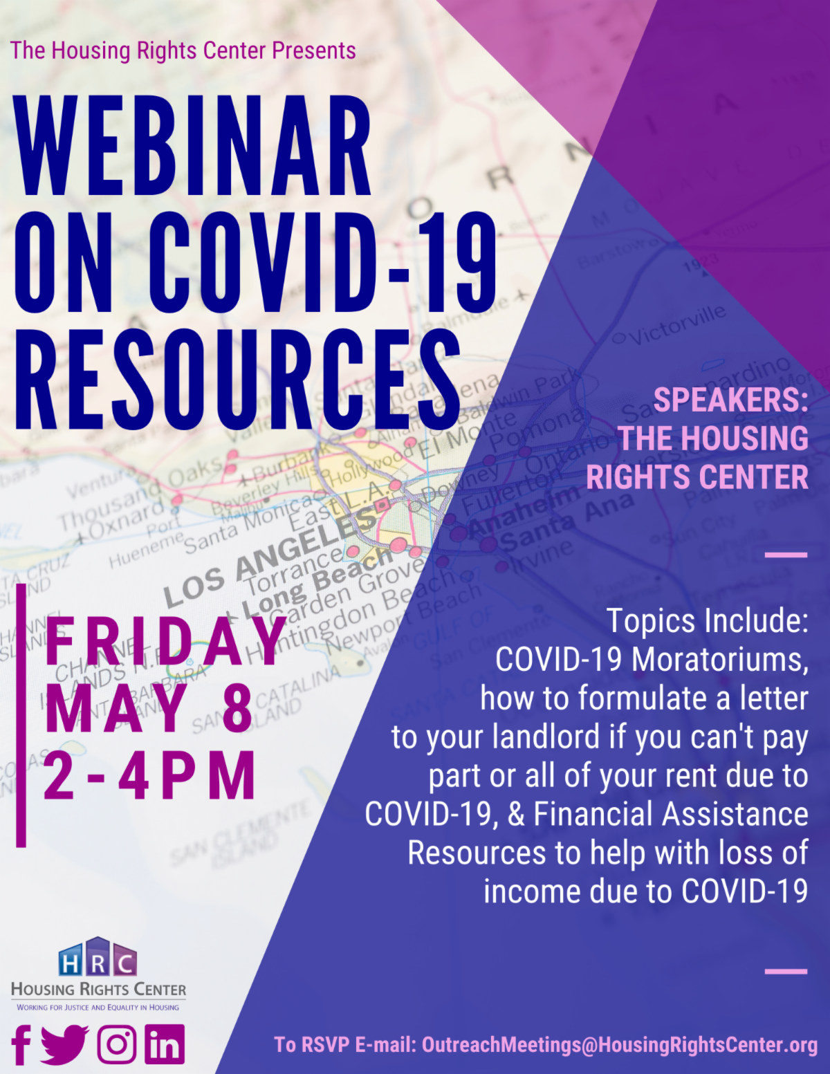 Housing Rights Center Zoom Webinar – COVID-19 Resources Flyer